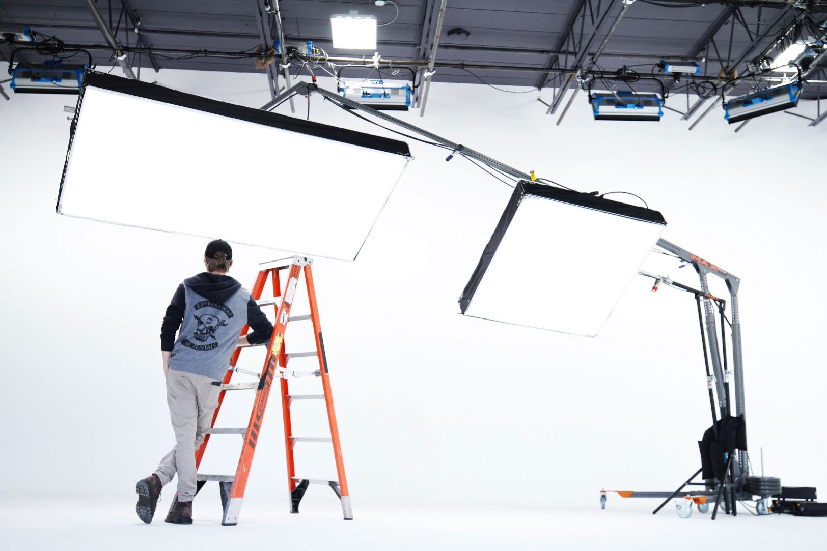 Man Installing Studio Equipment